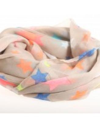 Traupe-farvet tørklæde med multifarvede stjerner