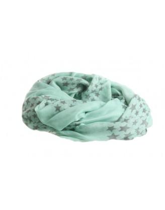 Mint tørklæde med grå stjerner