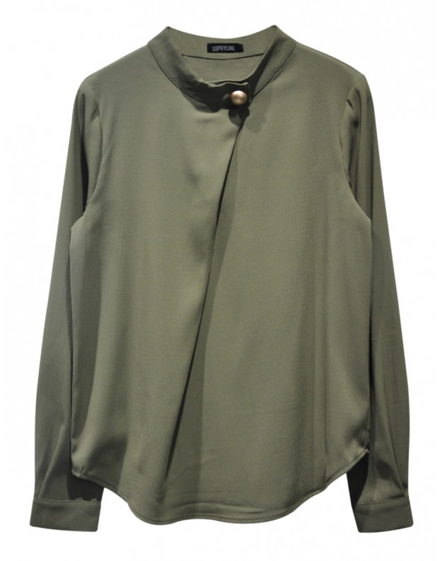 Khaki shirt with gold button sophyline for Khaki button up shirt