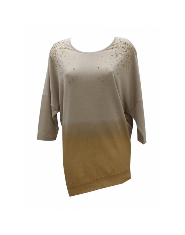 finest selection 4efb0 2a333 Lang bluse dip-dye mørk beige