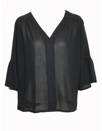 Transparent black shirt with fluffy sleeves